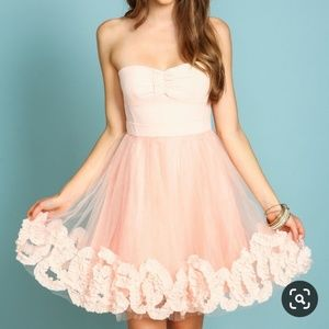 RICKETY RACK Strapless Pink Prom Homecoming Dress